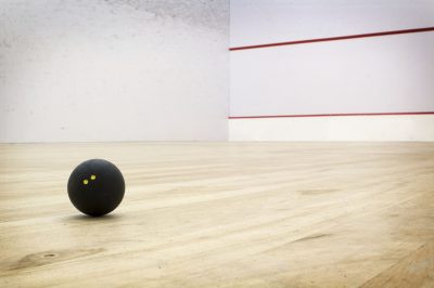 Squash court with double dot ball